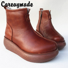 Careaymade-Full-leather Pure Wool Medium-high Slope-heel Shoes,Original Thick-soled Sheepskin and Fur Warm Womens Shoes
