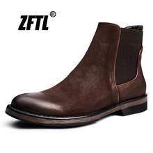 Chelsea-Boots ZFTL Casual Retro-Shoes Martins British-Style Genuine-Leather Men's NEW