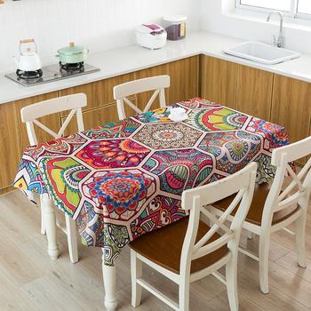 Kolorowy obrus Mandala wodoodporny prostokąt stół obiadowy kuchenny pokrowiec do dekoracji w stylu boho obrusy na wesele imprezy domowe tanie i dobre opinie Domu OUTDOOR Hotel Party BANQUET Wodoodporna Floral Drukowane Europa as show Poliester bawełna Tkane Rectangle table cloth