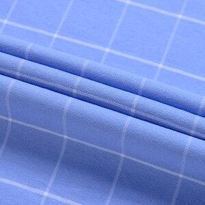 Image 5 - Moda masculina 100% algodão oxford xadrez listrado camisas único remendo bolso manga longa padrão ajuste outerwear camisa de trabalho casual