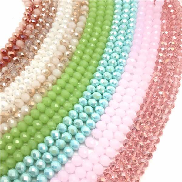 3x4mm/4x6mm/6x8mm kryształowe koraliki Rondel koła Faceted paciorki szklane do tworzenia biżuterii Diy biżuteria akcesoria biżuteria ustalenia