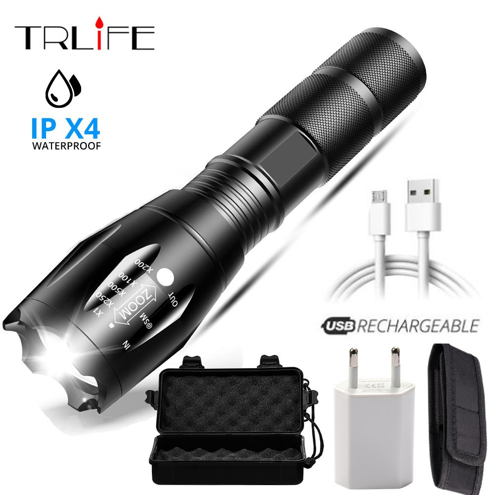 USB Flashlight LED Rechargeable Lanterna <font><b>X900</b></font> Power Bank Output Torch Tactical Zoomable Waterproof Shock Flashlight for Camping image