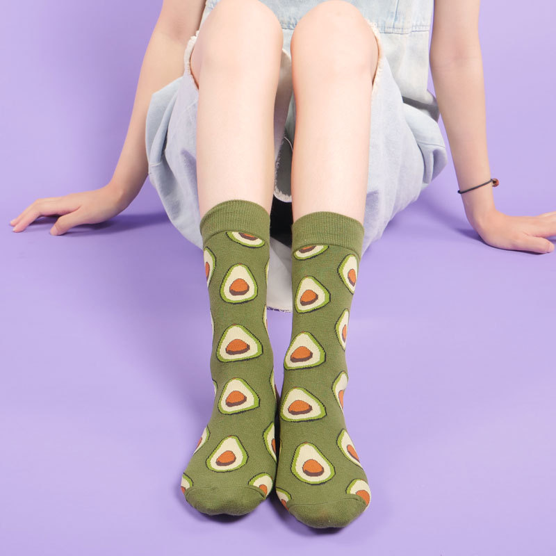 Fashion Streetwear Catoon Food Women Socks Autumn Winter Japanese Style Cute Cotton Medium Socks Funny With Sushi Avocados 374