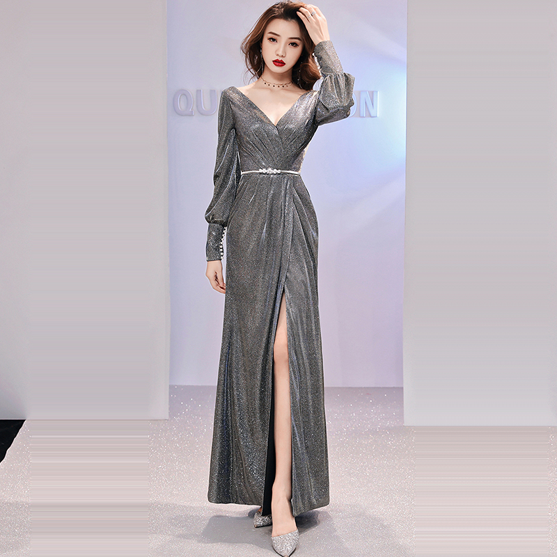 Evening Dress Long Sleeve Women Party Dresses Pleat Sequin Elegant Robe De Soiree 2019 Sexy Split Deep V-neck Formal Gowns F172