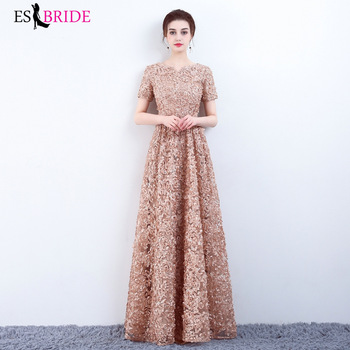Long Evening Gowns 2019 New Arrival Elegant A-Line Casual Lace Dress Party Formal with Lace Short Sleeve Robe De Soiree ES2684-1