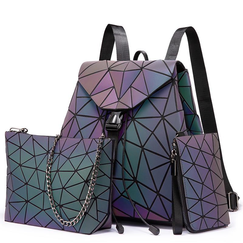 Lovevook Women Backpack Schoolbag Foldable Crossbody Bag For Ladies Bag Set 3 Pcs Purse Geometric Bag Luminous Color