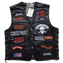 Мужской мотоциклетный жилет из натуральной кожи с вышитыми буквами флаг США Орел мотоциклетный жилет рыцарь панк куртка без рукавов