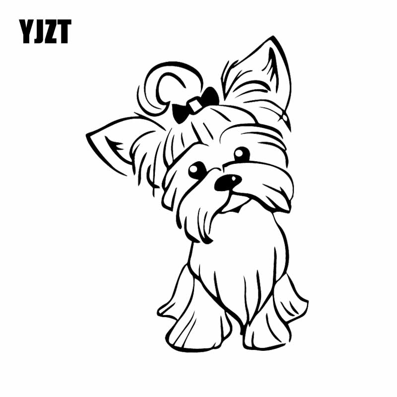 YJZT 12.2X17.3CM Yorkshire Terrier Pup Doggy Yorkie Decal Car Sticker Cute Fun Dog Car Window Vinyl Black/Silver C24-1632