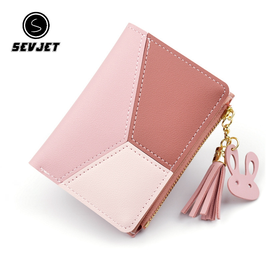 Patchwork Women Short Wallet Stitching Change PU Leather Tassel Women Purse With Coin Pocket Zipper Slim Clutch Bag CJ1165