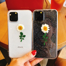 Daisy Soft Case For Iphone 11 Real Flower Transparent Floral Phone iPhone Pro Max 2019 Gel Dried Cover