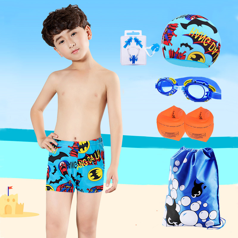 CHILDREN'S Swimming Trunks Goggles Swimming Cap Arm Floats Earplug Five-Piece BOY'S Cartoon Swimsuit Swimming Suit