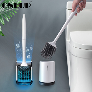 TPR silicone Toilet Brush Floor-standing Wall-mounted Base Cleaning Brush For Toilet WC Bathroom Accessories Set household items