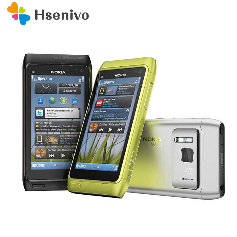 "100% Original Nokia N8 Mobile Phone 3G WIFI GPS 12MP Camera 3.5"" Touch screen 16GB Storage cheap phone refurbished free shipping"