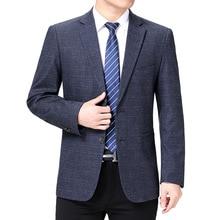 Men Blazers Jackets Costume Business Long-Sleeve Plaid Male Casual Fashion Masculino