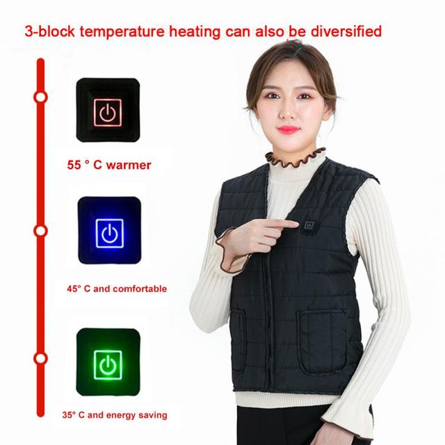 Men Women Outdoor USB Infrared Heating Vest Flexible Electric Thermal Winter Warm Jacket Clothing For Sports Hiking Riding 3