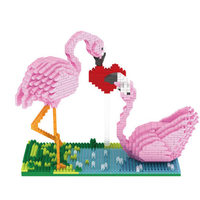 PZX Mini Brick Balody Lovely Pink Flamingo Couple with Crown Love 3D DIY cartoon Building Block Toy Gift For Children 1500PCS