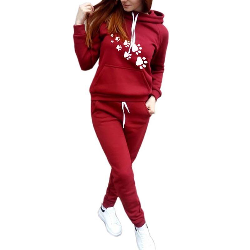 Autumn 2019 Hoodies Long Sleeve Sports Running Suit Women Tracksuit  Kawaii DOG PAW Letters Print Sportswear Sweatshirts Hoodies