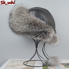 Bomber-Hats Hat Women Fox-Fur-Cap Winter Real 100%Natural Girl Outdoor-Quality Luxury