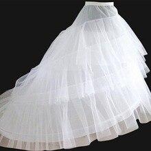 Envío Gratis enagua blanca alta calidad tren crinolina Underskirt 3 capas 2 aros para vestidos de novia
