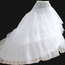 Free shipping High Quality White Petticoat Train Crinoline Underskirt 3 Layers 2 Hoops For Wedding Dresses Bridal Gowns
