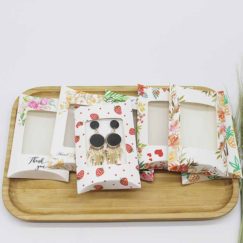 10pcs/lot New Pillow Box With Window Jewelry&necklace&Earring DIsplay Box Marbling Designs Flower Pattern Gifts Box 12.5*8*2cm