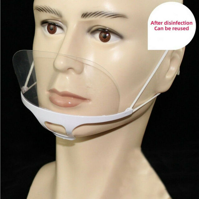 10Pcs Reusable Transparent Anti-fog Mask Shield Cover Plastic Anti-saliva Mouth Shield Mouth Mask Cover 2