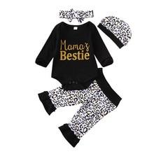 Топы с длинными рукавами для новорожденных и маленьких девочек 0-18 месяцев, комбинезон с рюшами, длинные штаны с леопардовым принтом, шапочка, повязка на голову, одежда для девочек, комплект из 4 предметов