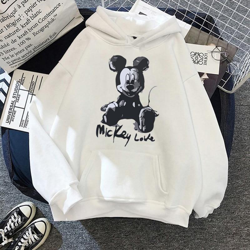 Disney 2021cartoon print sweatshirt women Funny hip hop Mickey Mouse print autumn and winter fashion Harajuku style hoodie women 7