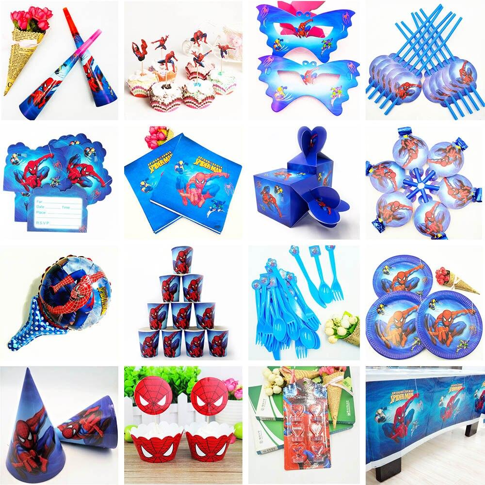 132 pièces Spiderman fête d'anniversaire fournitures enfants nappe pailles tasses assiettes serviette super-héros bébé douche décorations faveurs cadeau - 3