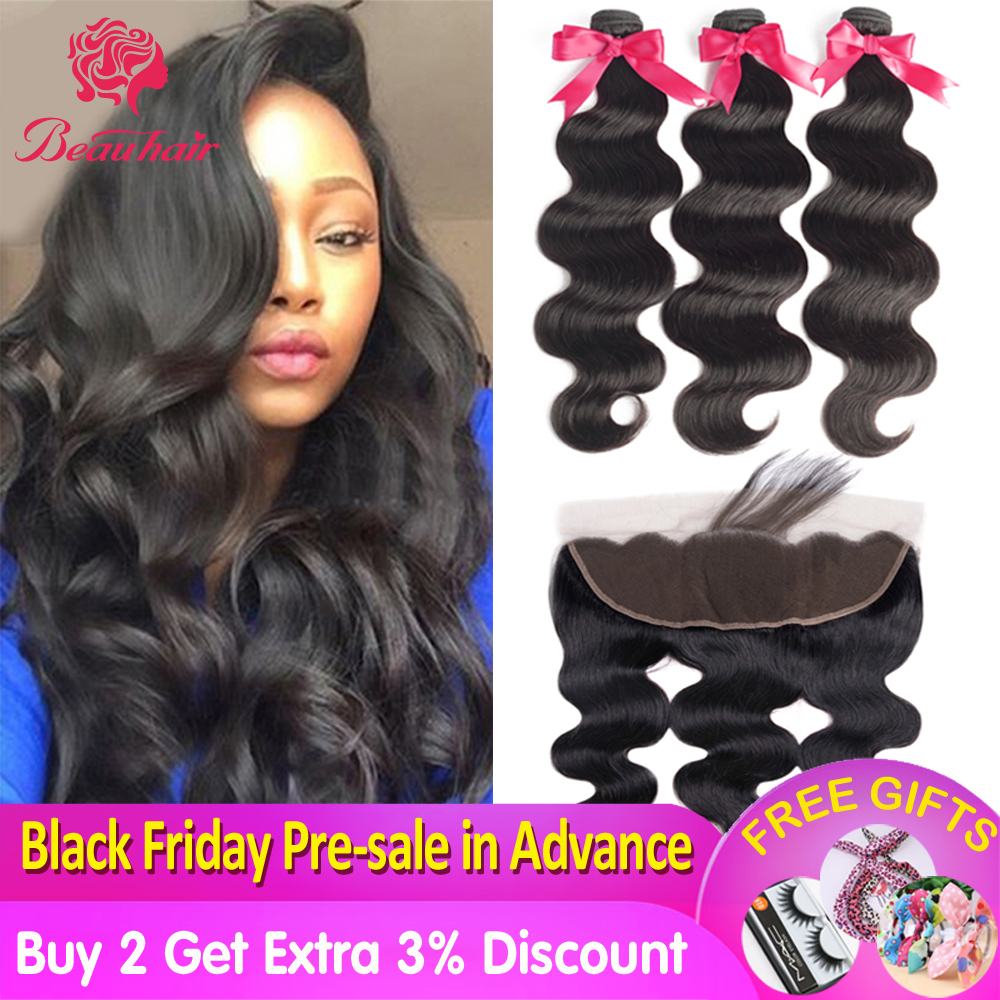 Body Wave Bundles With Frontal Human Hair 13*4 Malaysian Bundles With Frontal Lace Closure Non- Remy With Bundles Hair Extension