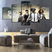 5 Piece Canvas Art PUBG Mobile Game Poster Printed Home Wall Modular Picture Frameworks Decoration Kids Room Pop Hang Painting