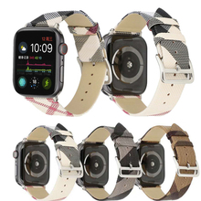 Leather strap For apple watch band 42mm 38mm & for apple watch 4 44mm band Plaid bracelet for iwatch 4 Bands 40mm series 3 2 1 top for apple watch band nike silicone replacement sport band for apple series 4 band for iwatch 4 bands 44mm 38mm series 3 2 1