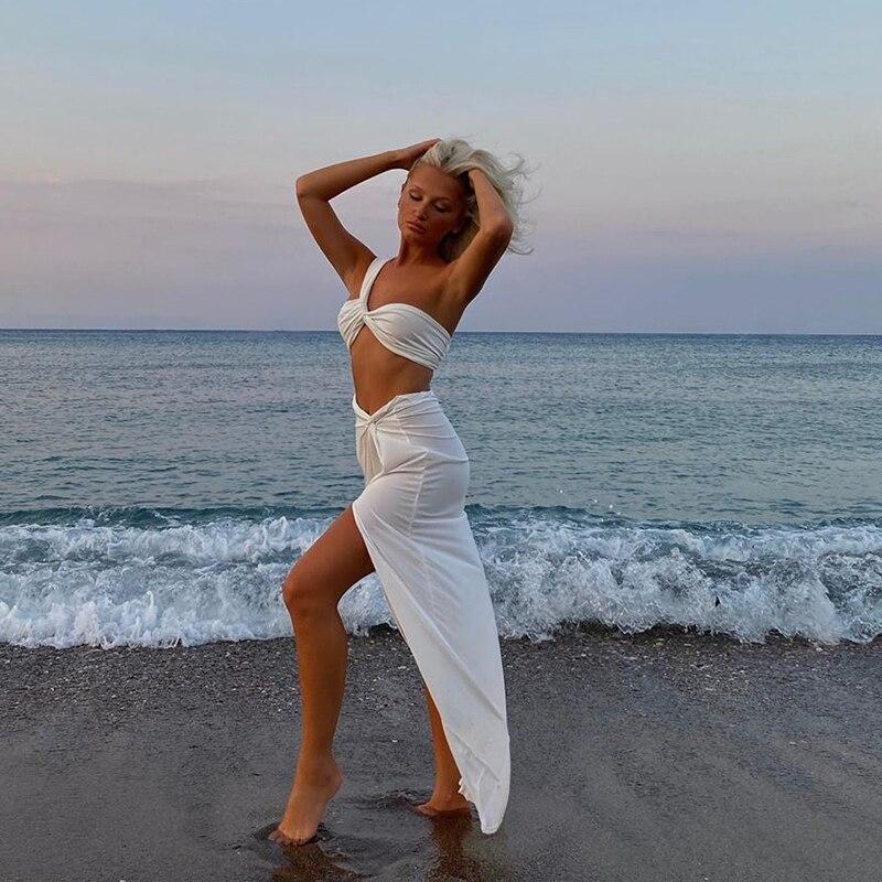 Купить colysmo летний белый укороченный топ длинные юбки комплект из