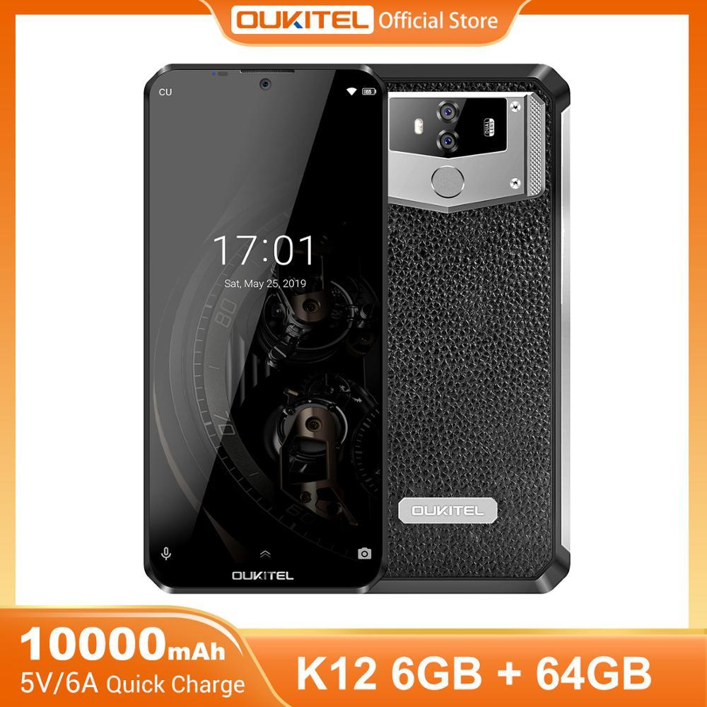 Мобильный телефон OUKITEL K12, смартфон на Android 9.0, 6,3-дюймовый экран 19.5:9, MTK6765, 6 ГБ ОЗУ 64 ГБ ПЗУ, NFC, 10000 мАч, быстрая зарядка 5 В/6 А, сканер отпечатков п...