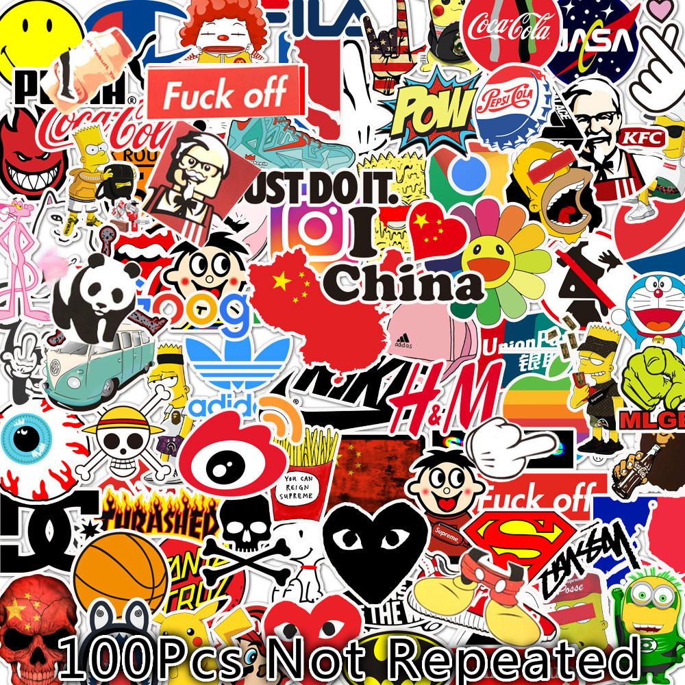 100Pcs Stickers Personality Skateboard Helmet Stickers Laptop 50Pcs Cute Stickers Girl Stickers Stationery Personalized Stickers