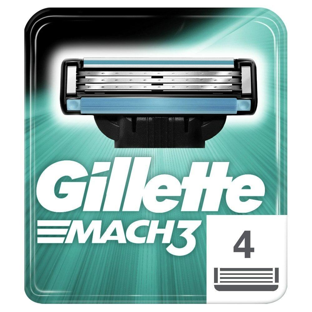 Replaceable Razor Blades For Men Gillette Mach 3 Blade Shaving 4 Pcs Cassettes Shaving Mak3 Shaving Cartridge Mach3