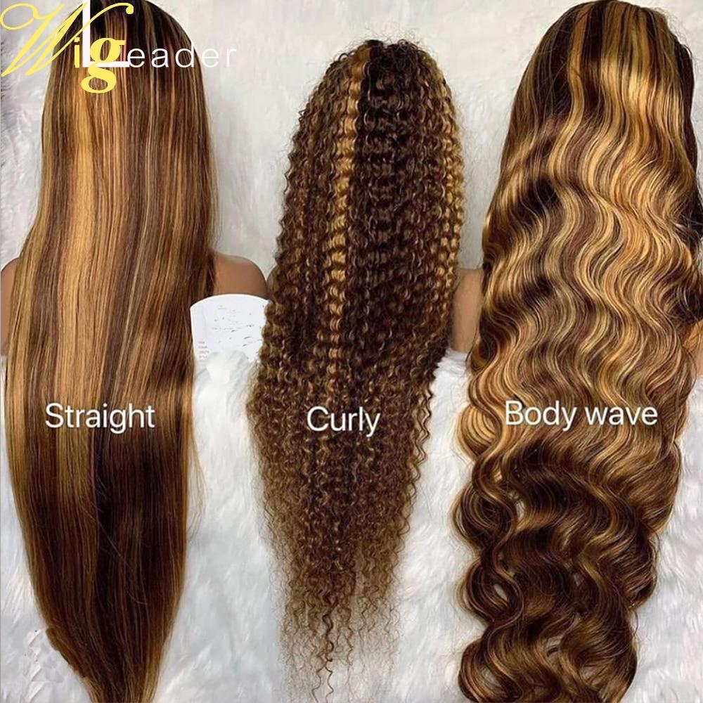 Wigleader предварительно человеческие волосы Синтетические волосы на кружеве парик Выделите прямые 180% 13x6 Синтетические волосы на кружеве al пар...