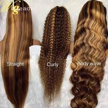 Wigleader preplucked peruca dianteira do laço do cabelo humano destaque em linha reta 180% 13x6 perucas frontais do laço encaracolado perucas frontais do laço suíço do laço
