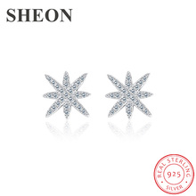 SHEON 925 silver and white gold stud silver earrings dazzling star with cubic zircon for women fashion jewelry dropshipping cute long chain silver stud earrings with bling zircon stone for women fashion jewelry korean earrings 925 silver