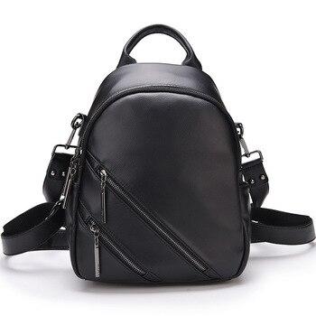 New Fashion Backpack Women Real Leather Backpack Travel Zipper Fashion Mini Backpack Quality School Bags for Teenage Girls
