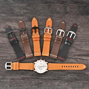 Image 5 - BEAFIRY Quick Release garbowany roślinnie pasek do zegarków 20mm 22mm 24mm pojedyncza warstwa skórzany pasek Retro pasek do zegarków brązowy do skamieniałości