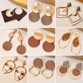 Новые корейские массивные серьги для женщин, коричневые серьги с геометрическим рисунком, свисающие Золотые сережки Brincos 2020, тренд, модные ю...