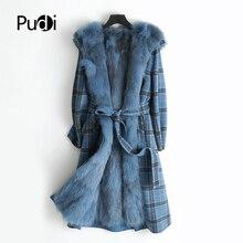 PUDI ZY178-1 Women real wool lattice fabric coat lady Rex fur lining fox collar leisure Fall/Winter long outwear