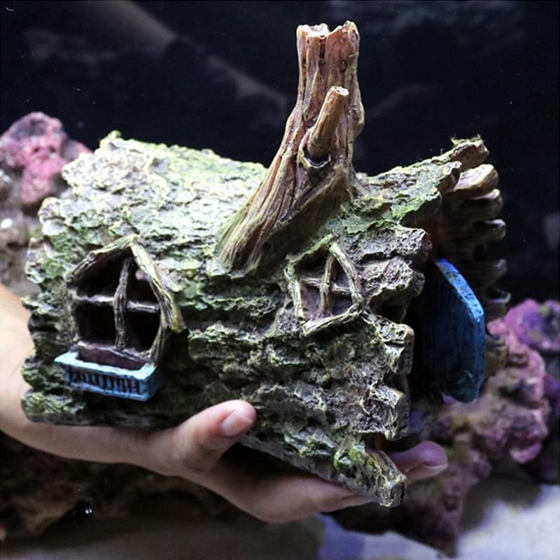 Fish Tank Simulation Tree House Resin Aquarium Landscape Shrimp Hiding House Cave Turtle Tank Decoration Reptile Pet Products