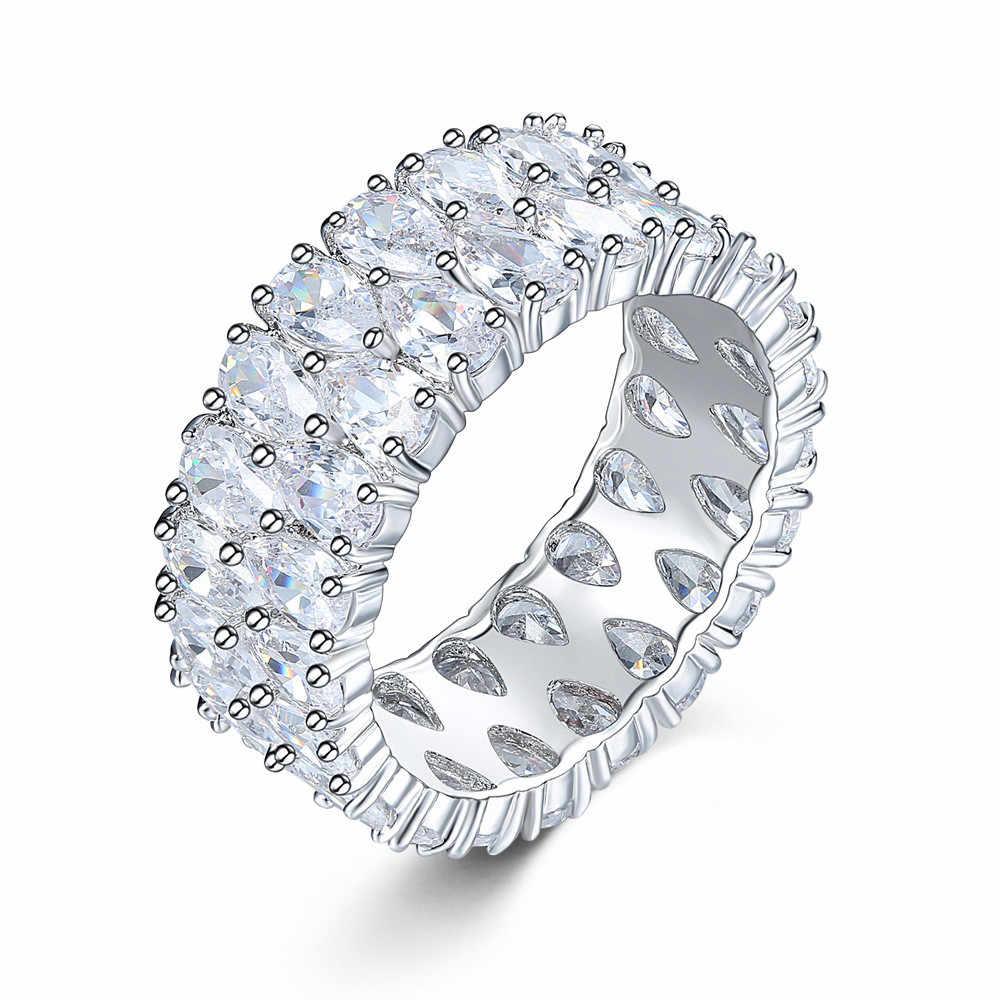 หญิงหรูหราคริสตัล Zircon แหวนแฟชั่นเงิน 925 รักหมั้นแหวน Vintage Vintage Drop งานแต่งงานแหวน