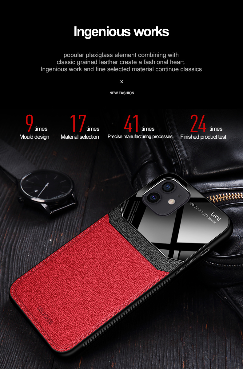 PU Leather Glass Back Cover Shockproof Case for iPhone 12