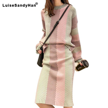 Sonbahar kış yeni 2019 kadın 2 adet etek setleri örme o-boyun kazak ve etek bayan zarif çizgili giyim takım elbise