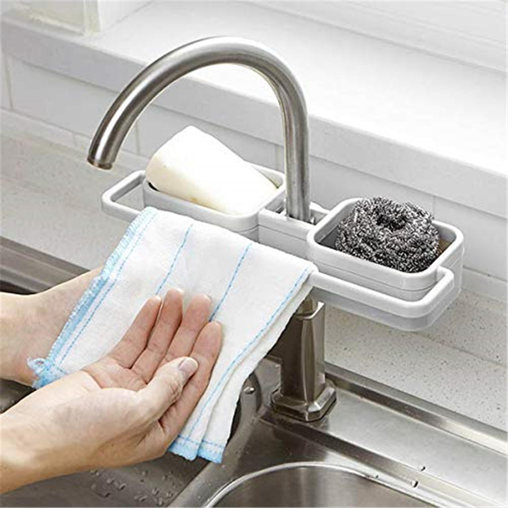 RASABOX - Kitchen Sink Accessories, Kitchen Sink Suction Holder for Sponges, Scrubbers, Soap, Kitchen, Bathroom