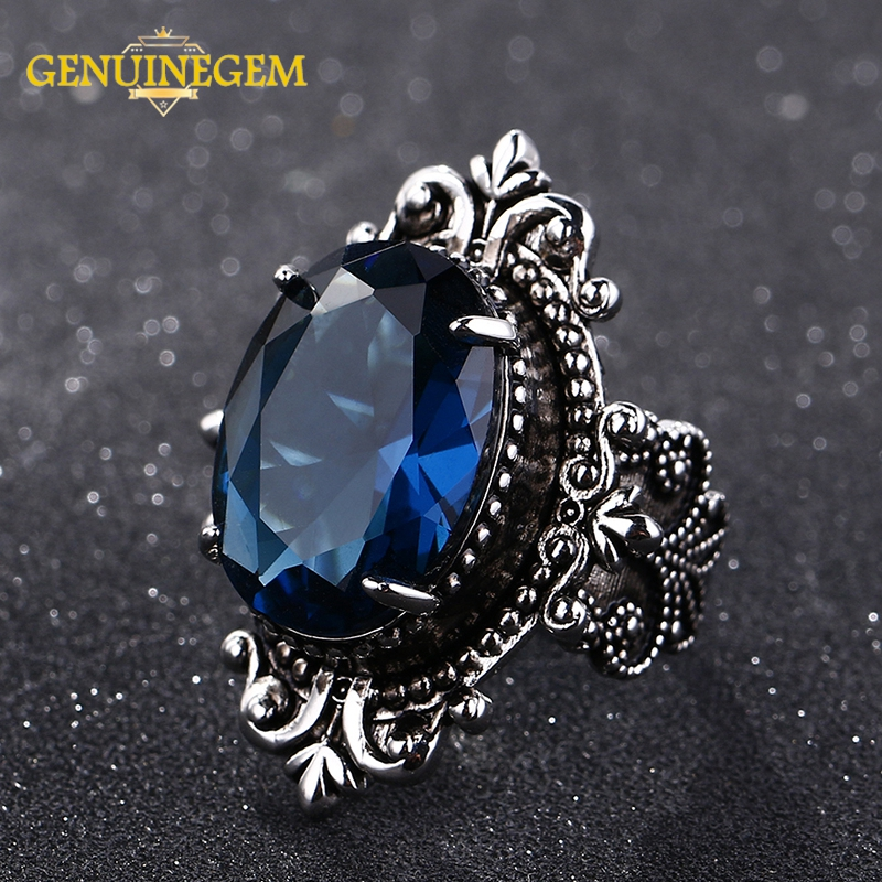 GENUINEGEM Luxury Big Peacock Blue Sapphire Rings For Women Men Vintage Real Silver 925 Jewelry Ring Anniversary Party Gifts