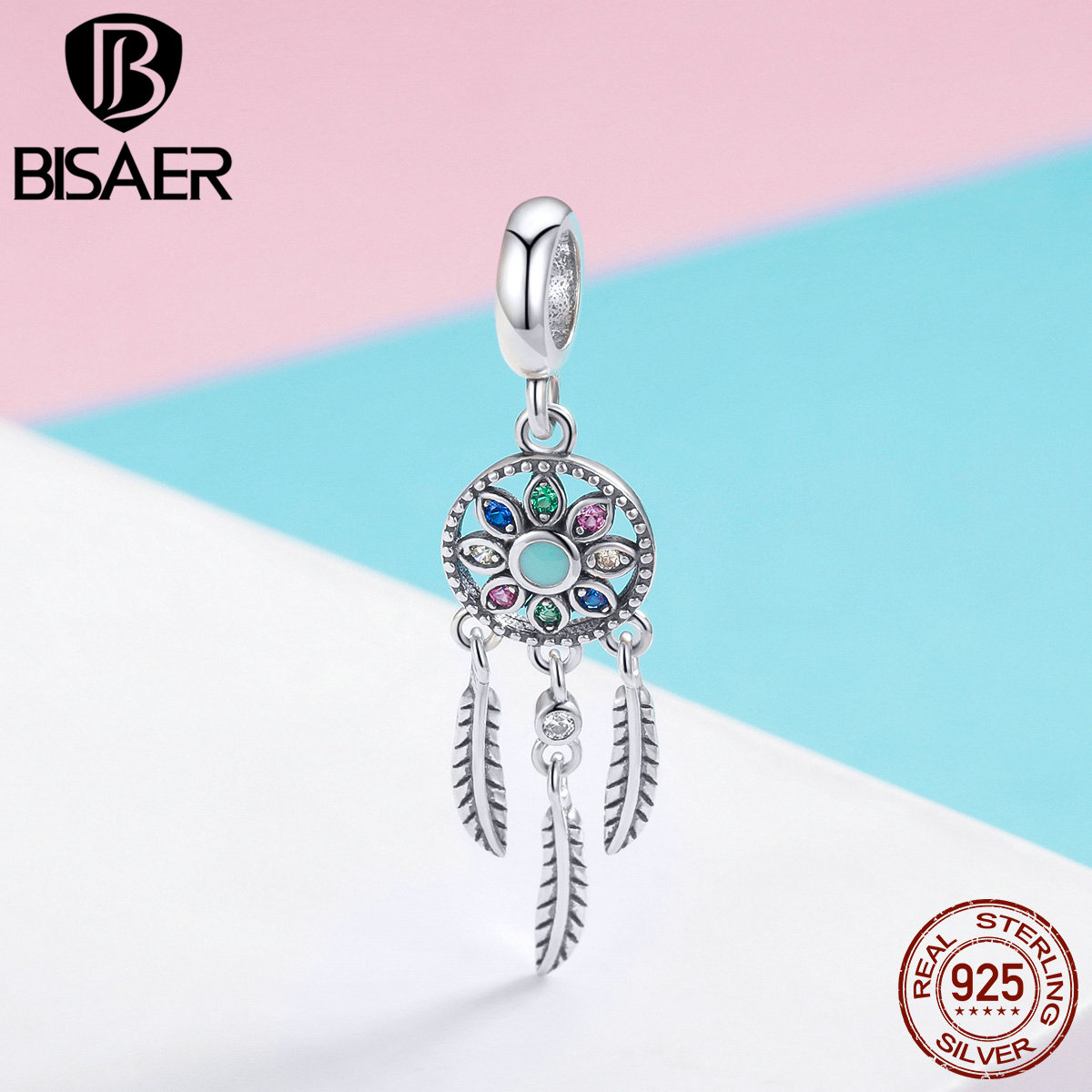 BISAER 925 Sterling Silver Bohemia Dream Catcher Vintage Charms Beads Fit Bracelet Beads For Silver 925 Jewelry Making ECC961
